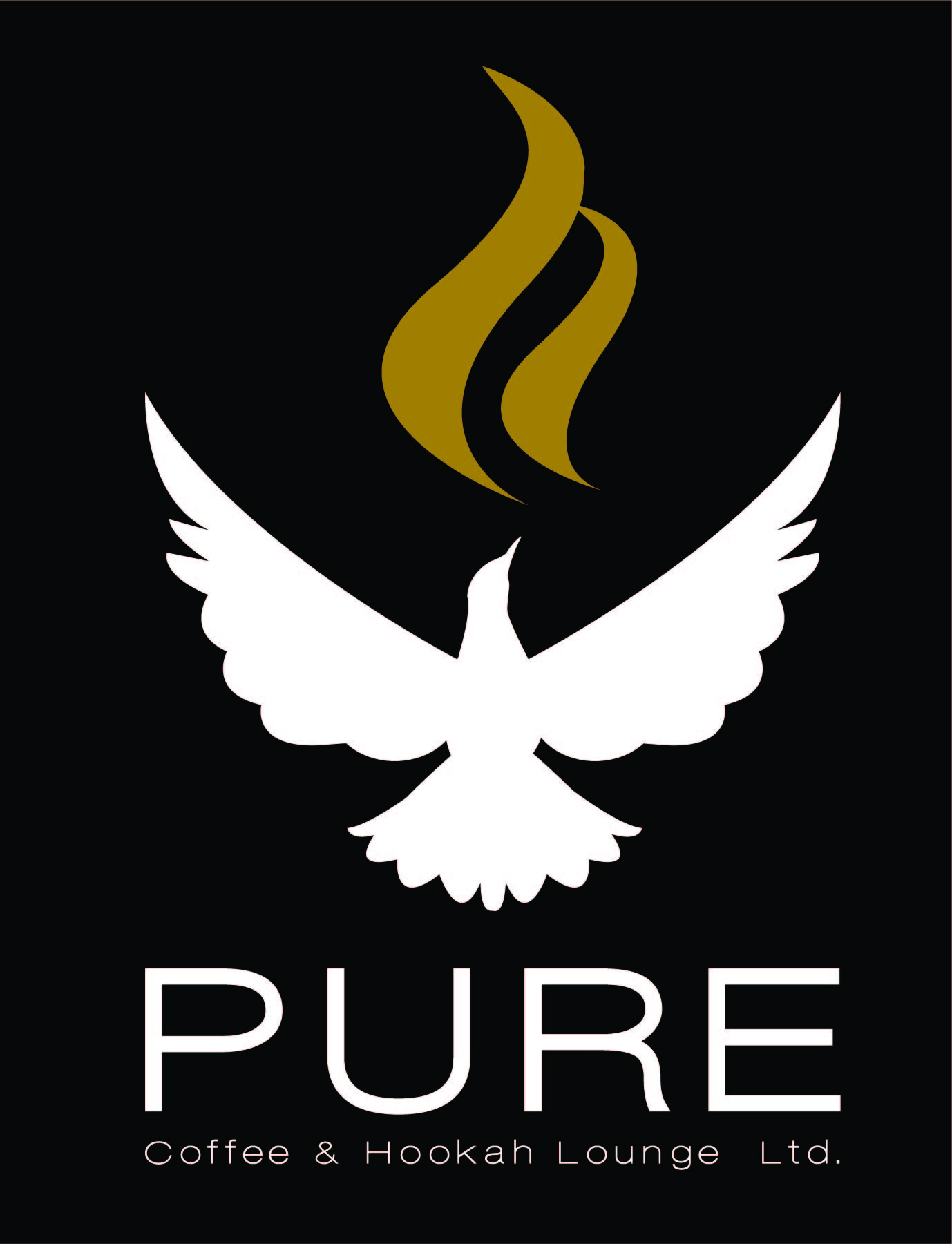 The PURE logo is of a dove with smoke/steam to represent both coffee and hookah
