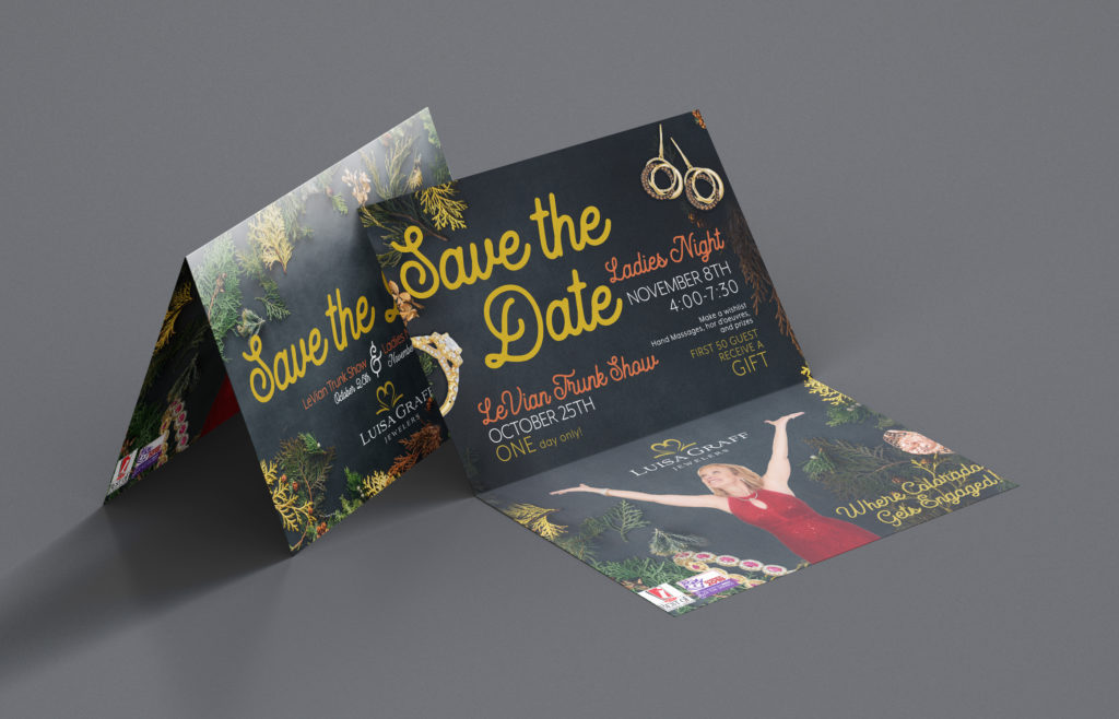 Lusia Graff Jewelers save the date postcard design for fall