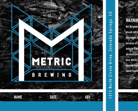 Full design for the Crowler beer can label with metric branded wood texture and dynamic lines